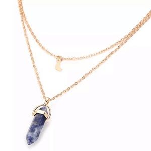 Steel Blue Quartz & Moon Pendant Necklace